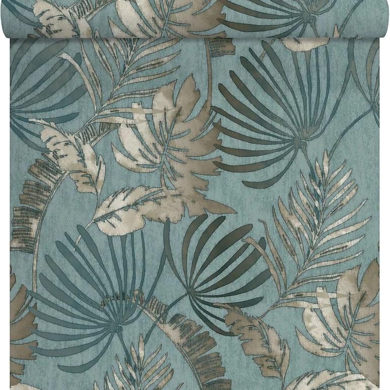 Papier Peint Intisse Sejours Chambres Exotique Bleu Leroy Merlin