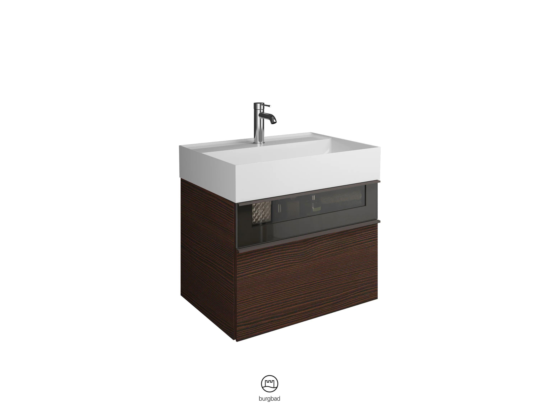 Meuble Simple Vasque L 65 X H 48 Wengue Bois Marron Fonce Lina Leroy Merlin