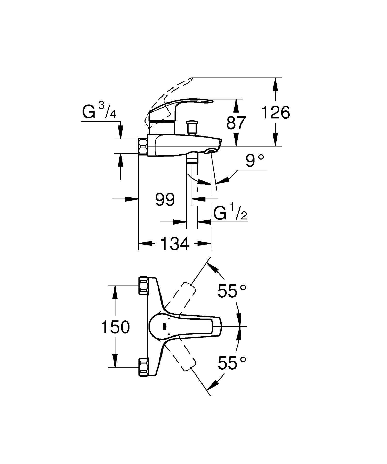 mitigeur mecanique de baignoire chrome grohe eurosmart