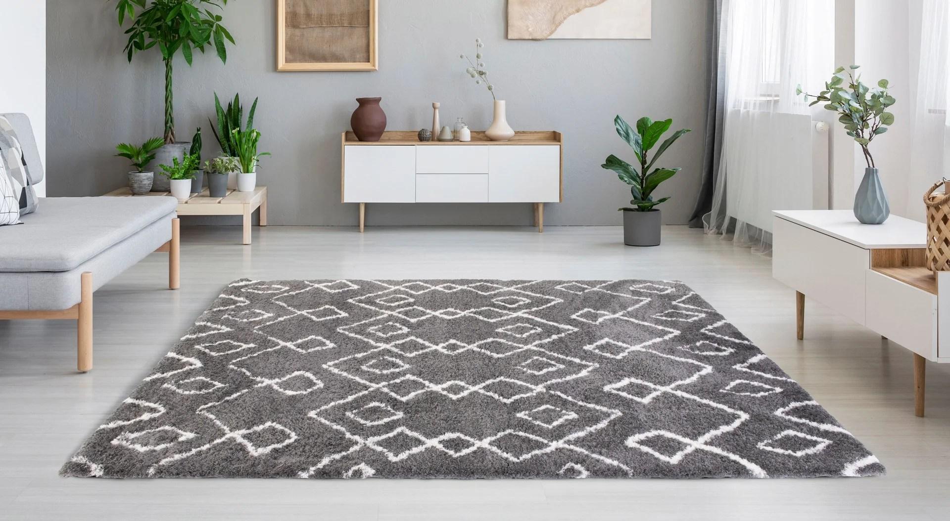 tapis anthracite rectangulaire l 200 x l 290 cm softy