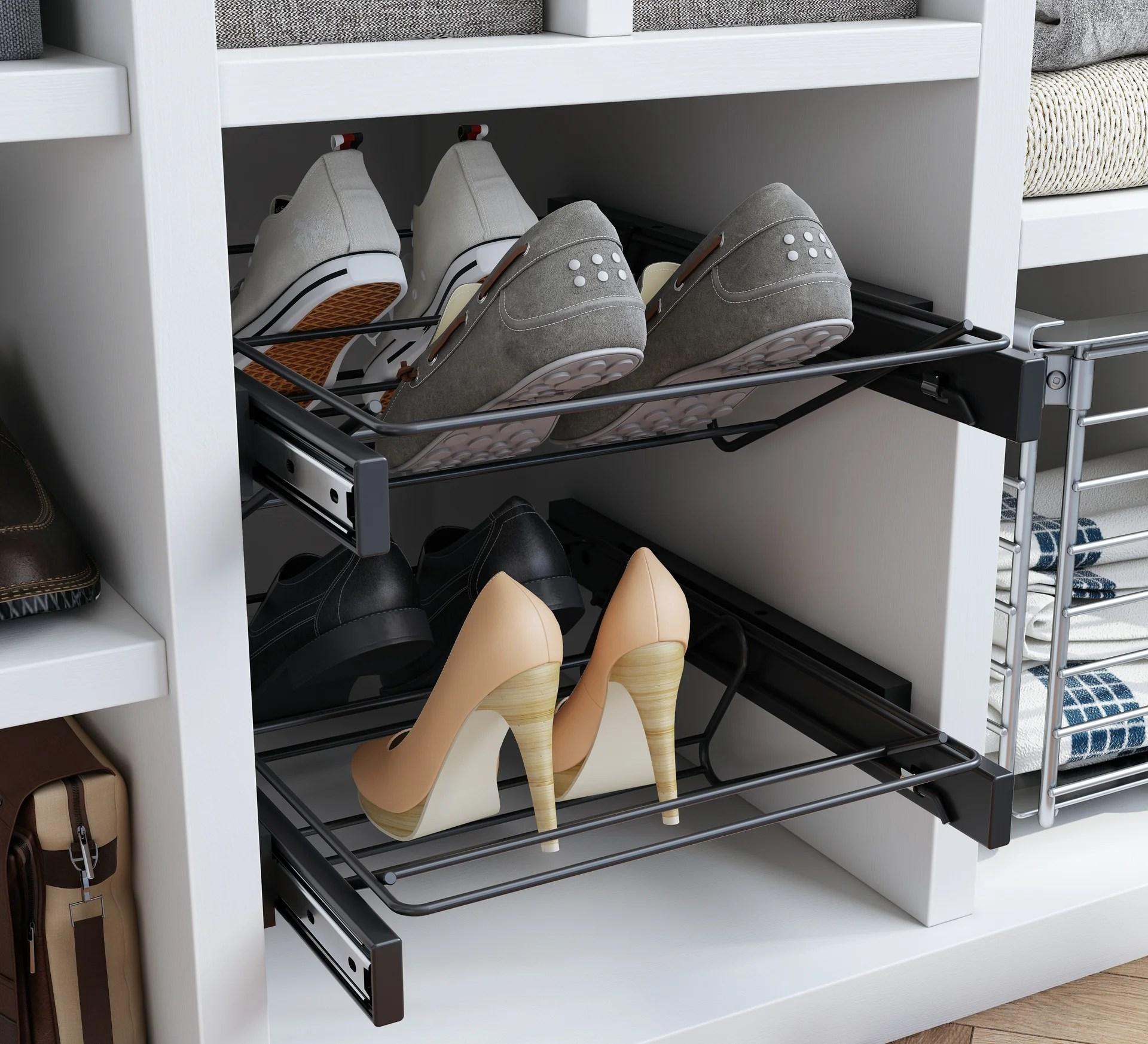 range chaussures coulissant noir spaceo 4 paires maximum h 10 8 x l 56 8 cm