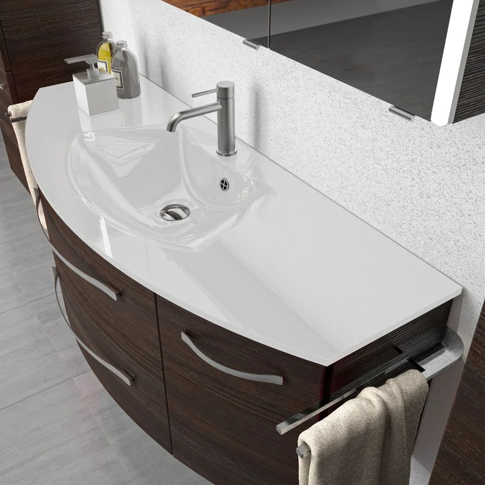 Plan Vasque Simple Verre Blanc L 131 Cm Image 3 Leroy Merlin