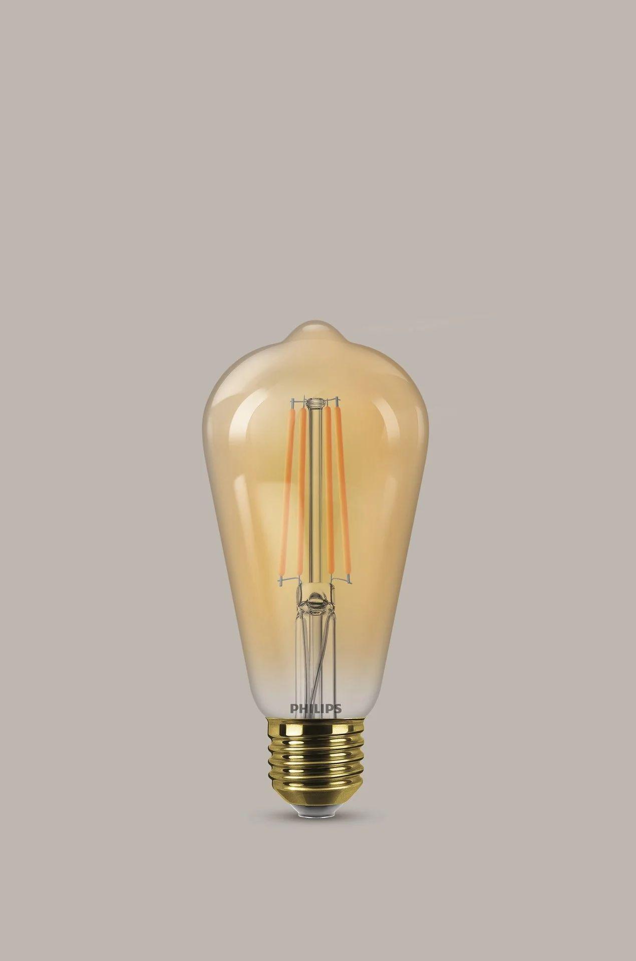 Ampoule Led A Filament Ambre Edison E27 630 Lm 50 W Blanc Tres Chaud Philips Leroy Merlin