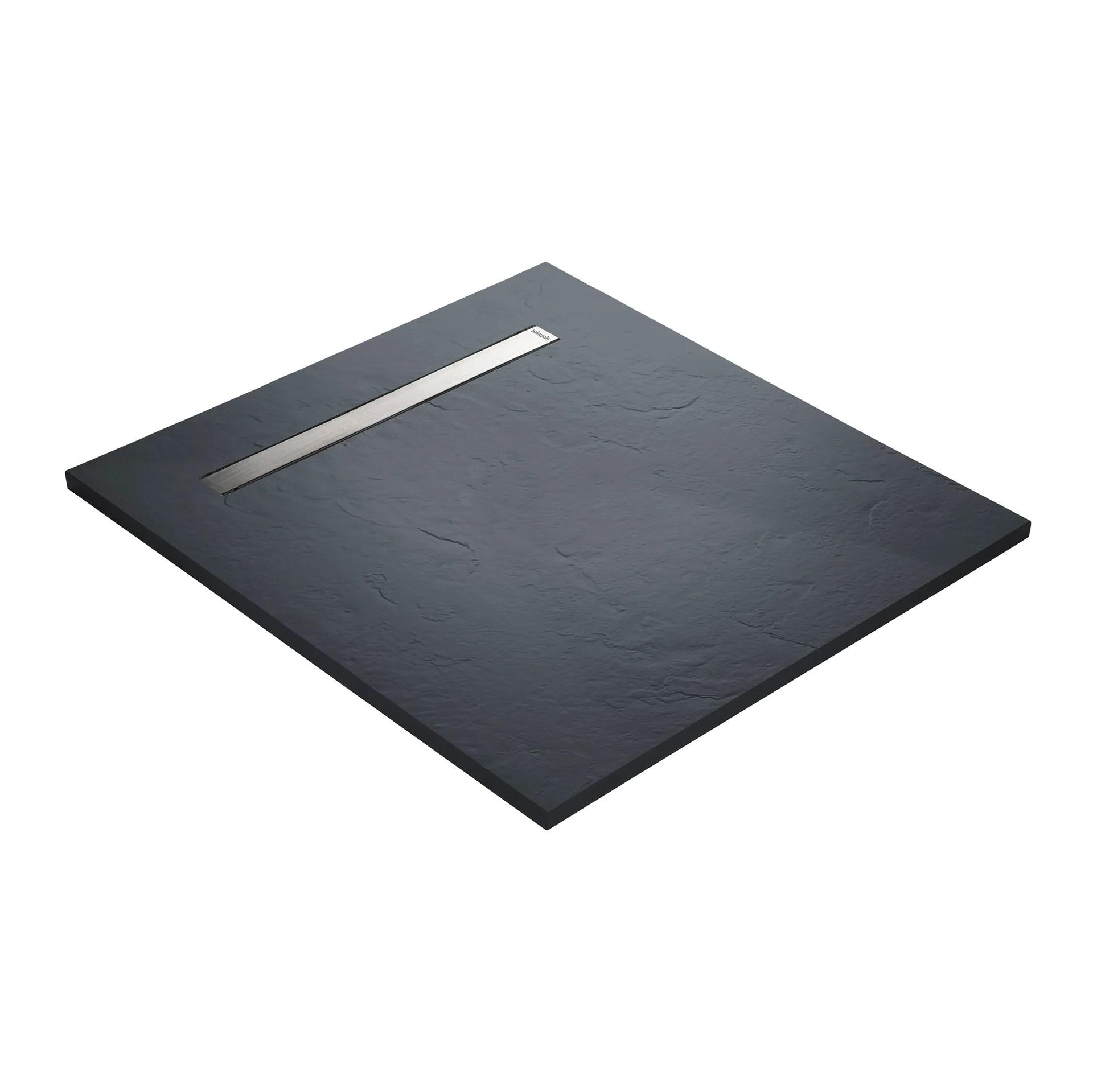receveur douche extra plat caniveau inox resine gris 90 x 90