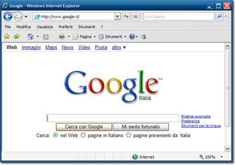 internet explorer pagina iniziale personalizzata