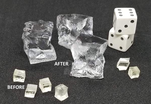 SAP Cubes before and after placed next to die