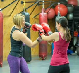 women's self defense class upper cut drill