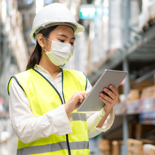Woman conducting a safety audit