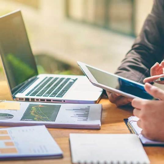 business people analyzing data