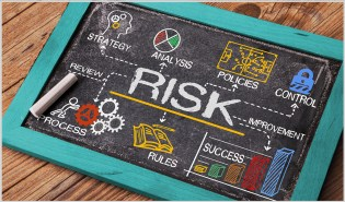 Risk Management Concept on Chalkboard