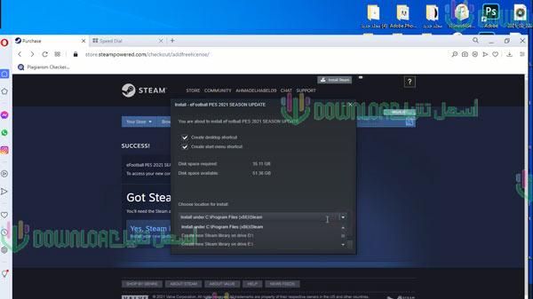 تحميل بيس 2021 للكمبيوتر مجانا النسخة الكاملة أون لاين Download PES 2021