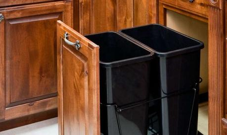 diy pull out trash can in a kitchen