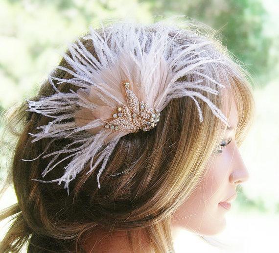 Blush Pink Wedding Fashion Accessories Feather