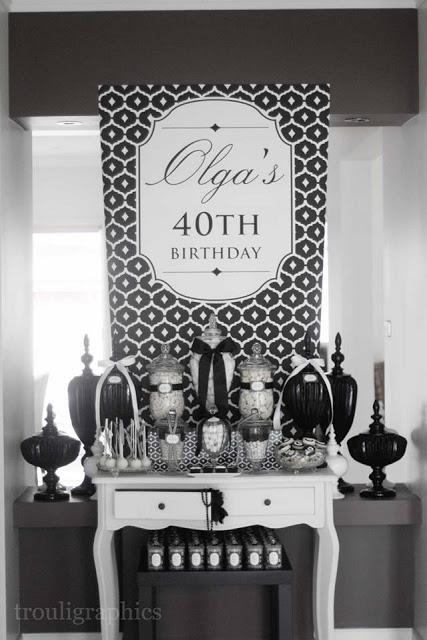 Black And White Themed 40th Birthday By Trouli Graphics