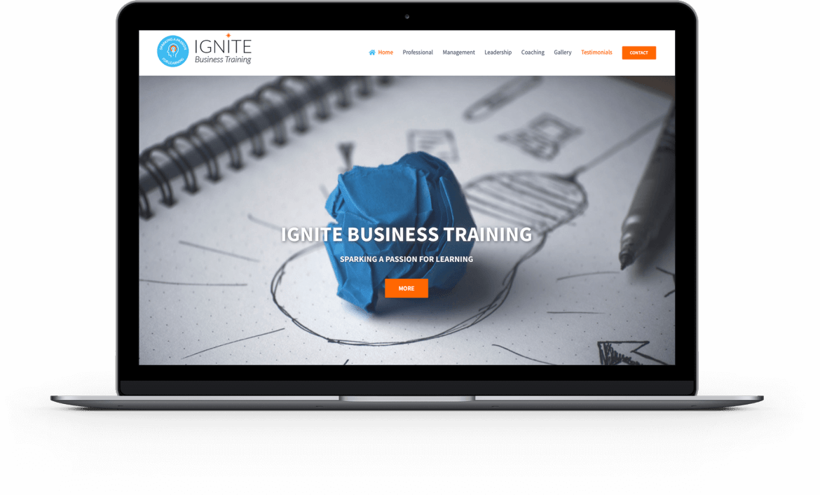 laptop with Ignite Business Training website image