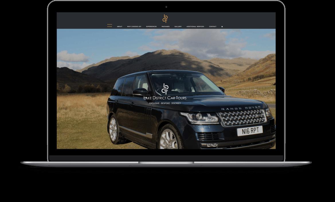 Lake District Car Tours Website showing on Laptop
