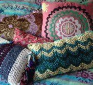 hand knit , sewed pillows