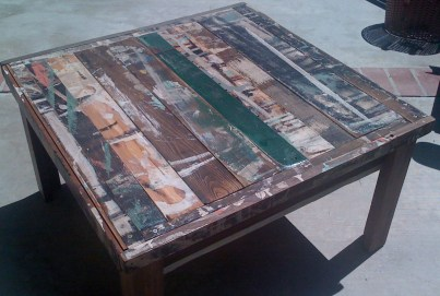 coffee table made from recycled wood