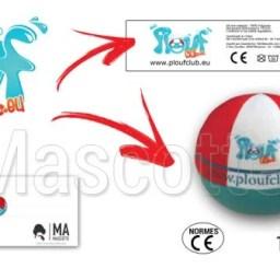 Fabrication Peluche Sur Mesure balle PLOUF CLUB (peluche objet sur mesure).