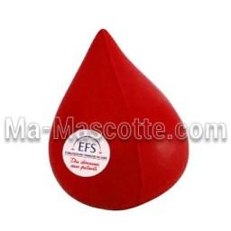 Fabrication figurine antistress sur mesure goutte de sang. Antistress mousse personnalisé.