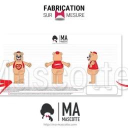 Fabrication Costume Mascotte Sur Mesure ours sammy park. Mascotte Marketing.