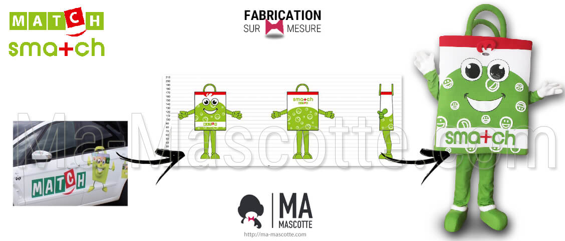 Mascot in the shape of a green bag for the MATCH SMATCH customer. Original graphic creation of custom-made object mascot.