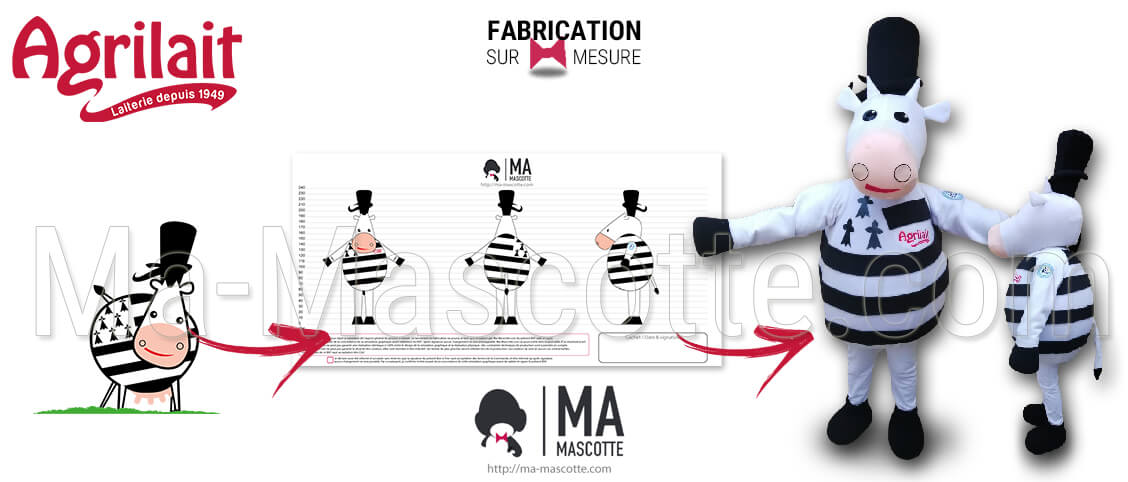 Cow mascot Agrilait. Manufacturing of a Breton cow mascot for the Agrilait brand. Event and advertising mascot.