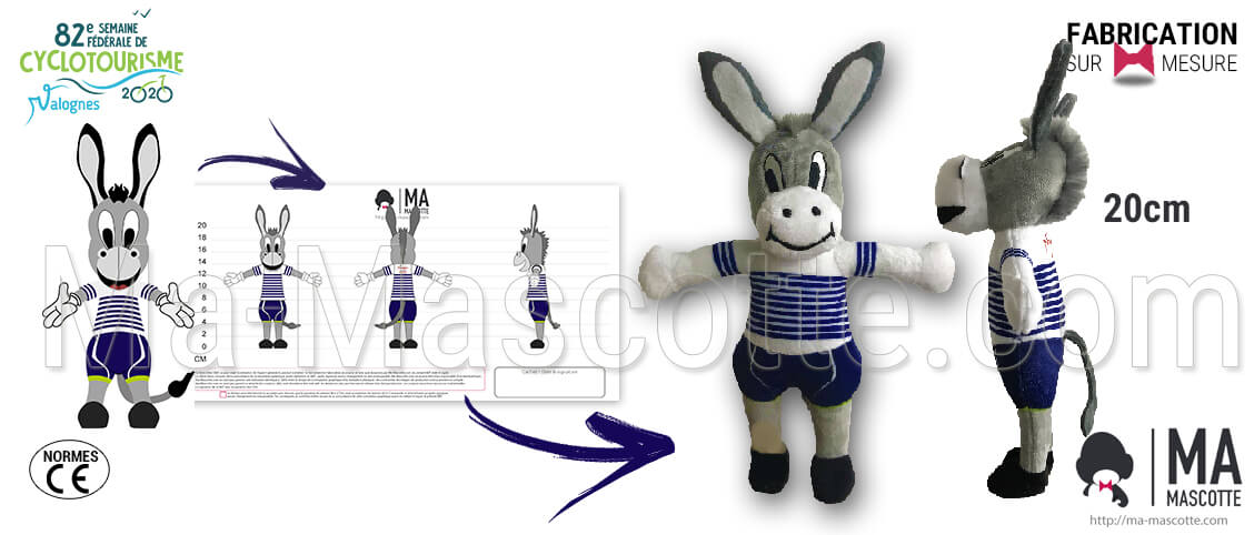 Donkey plush toy for Cosfic and the cyclotourism event. Donkey custom plush toy supplier.