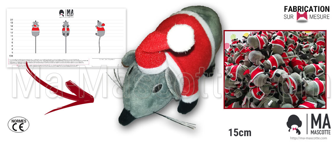 Christmas plush creation. Custom manufacturing of a Christmas mouse plush for retailers and associations.