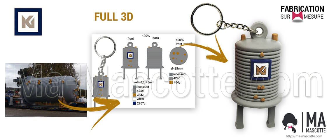FULL 3D plastic keyring in the shape of a reactor for the industrial customer KEM ONE. Unique creation of original custom keychains in 3D.