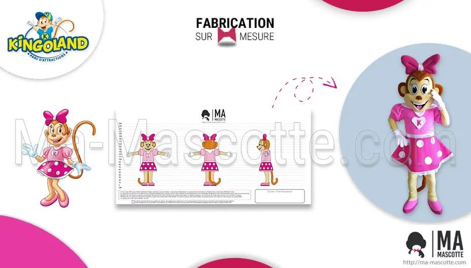 Mascotte sur mesure de singe avec une robe pour le parc d'enfant Kingoland