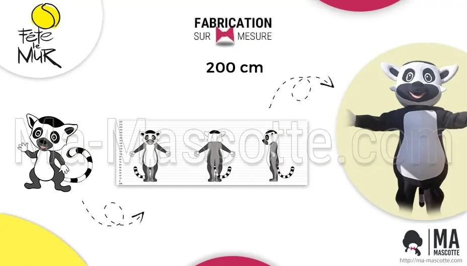 mascotte sur mesure lemurien club de tennis fête le mur