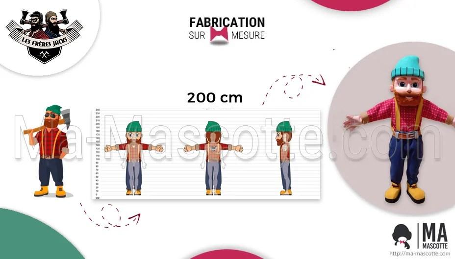 Fabrication Mascotte Sur Mesure d'un bûcheron de chez les Frères Jacks (mascotte objet sur mesure).