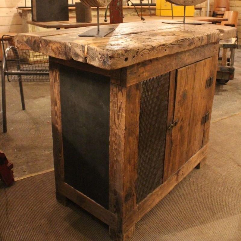 mobilier industriel ancien etabli d