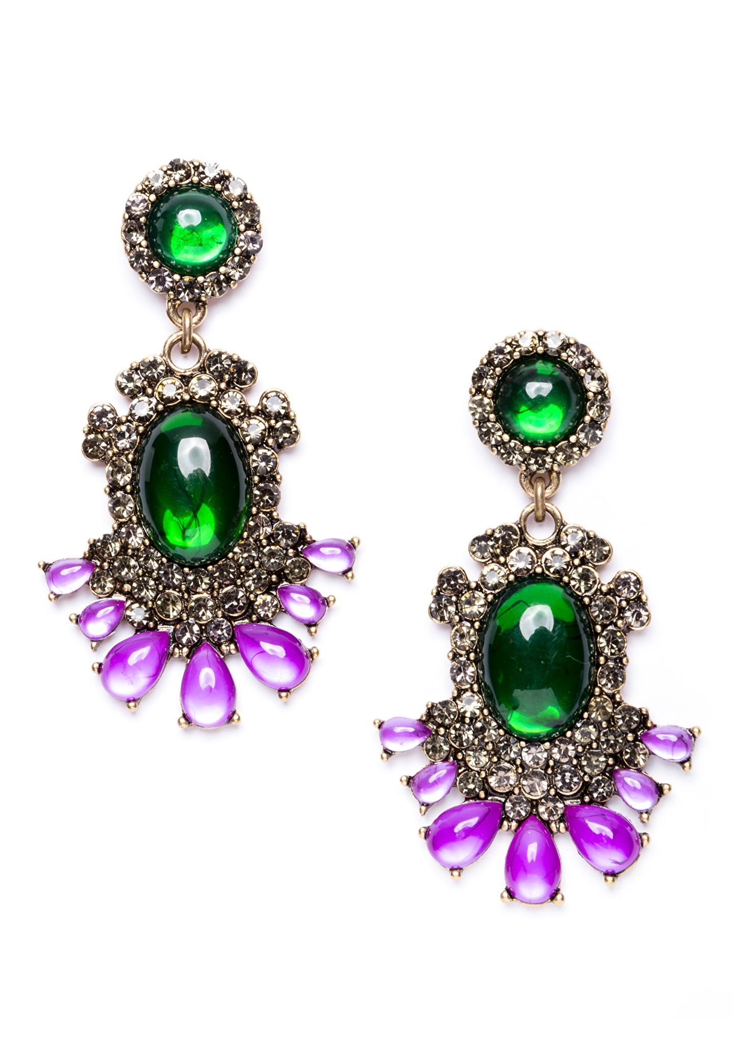 Majestic Forest Green Statement Earrings In Gold