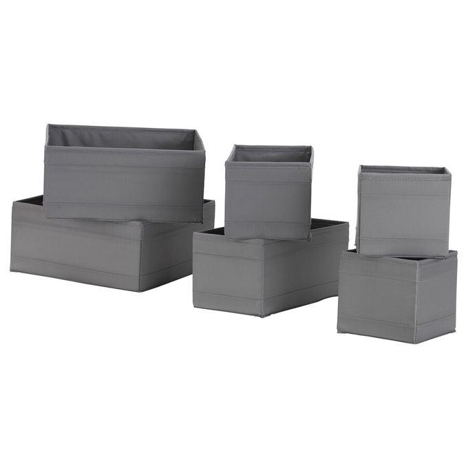 boite de rangement 6 pieces gris fonce