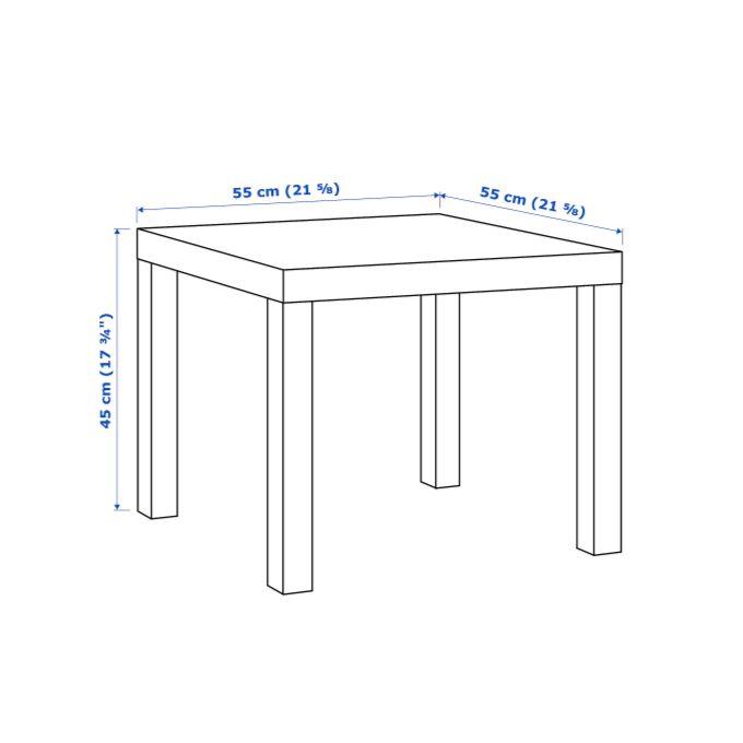 table carree noire 55x55 cm