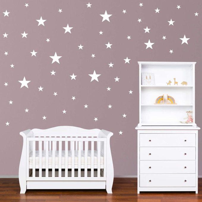 stickers muraux enfants etoiles autocollants decoration murale chambre bebe facile a poser blanc 70 pieces