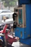Broken telephone booth