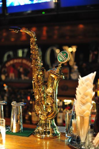 Saxophone beer dispenser