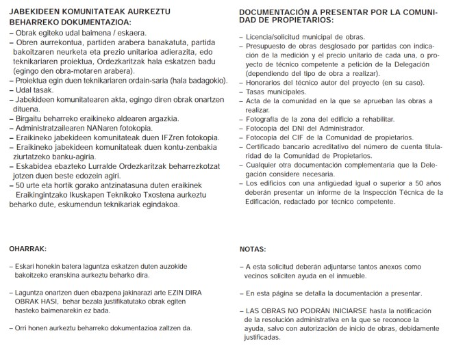 Requisitos subvencion comunidad