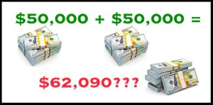how $50,000 + $50,000 can equal $62,090