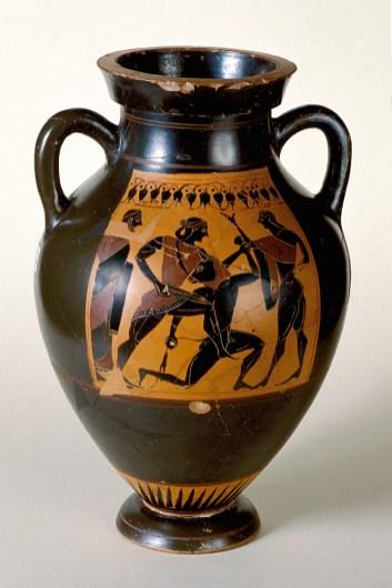 Anfora attica a figure nere con Teseo e il Minotauro, 540 a.C. circa.