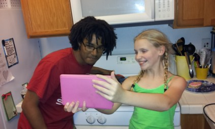 Checking out the brownie recipe with US cousin.
