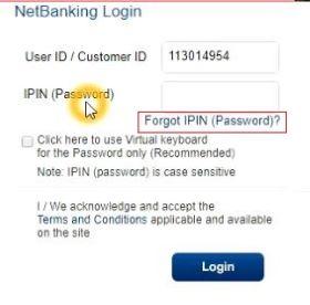 HDFC netbanking password reset