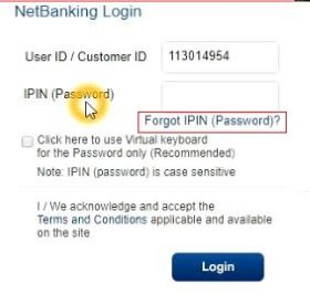 HDFC netbanking password reset