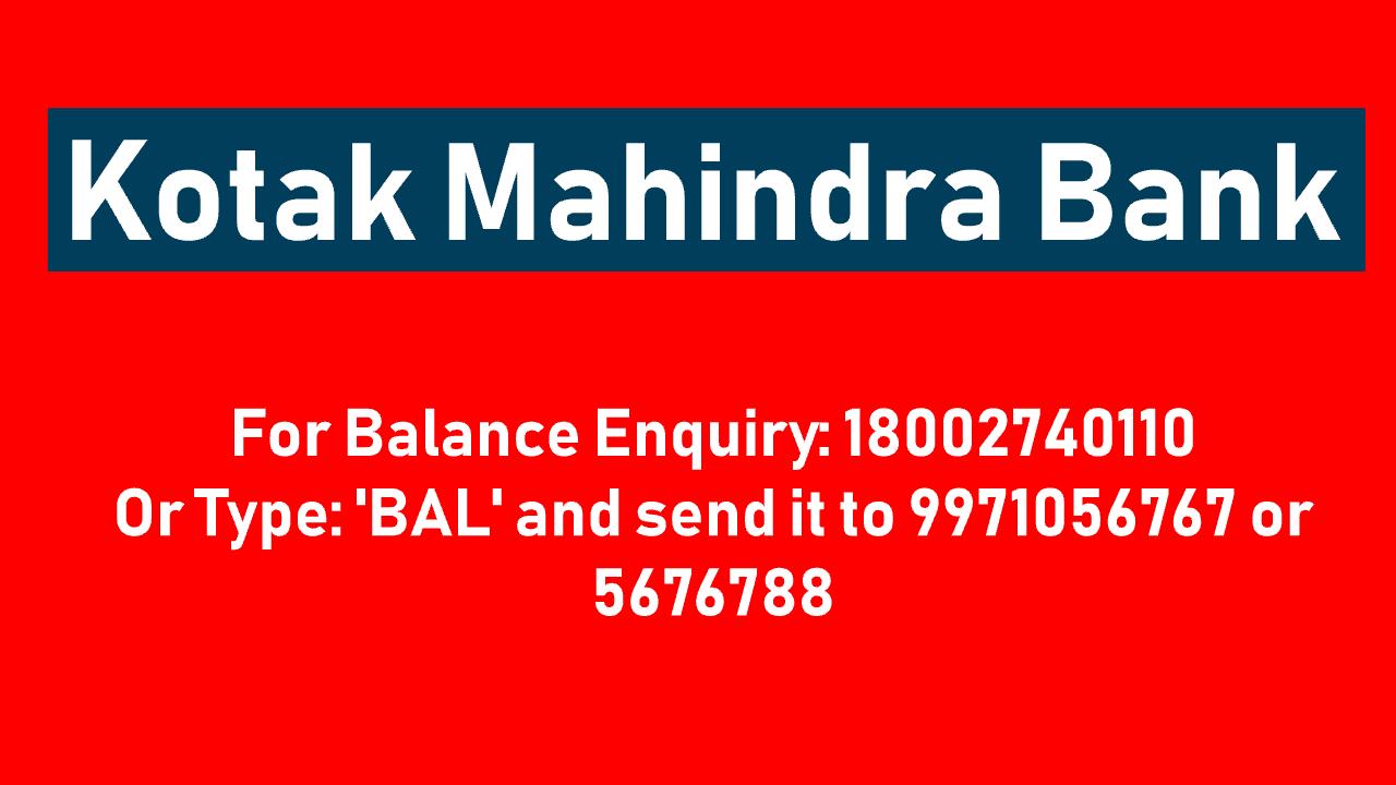 Kotak Mahindra Bank Balance Check Number