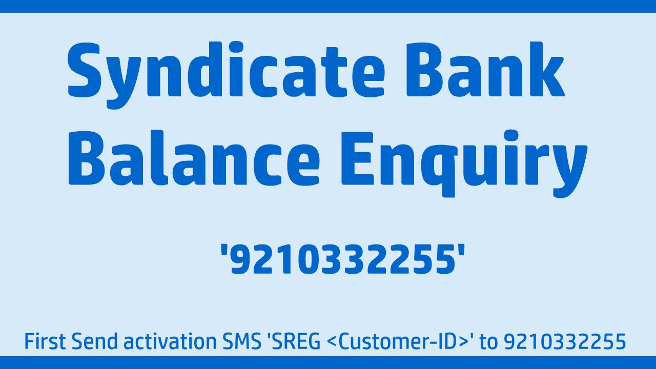 Syndicate Bank balance enquiry