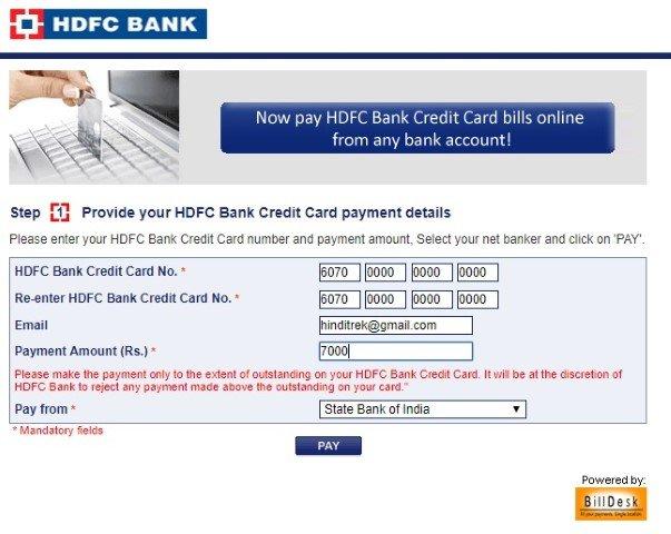 hdfc credit card payment billdesk