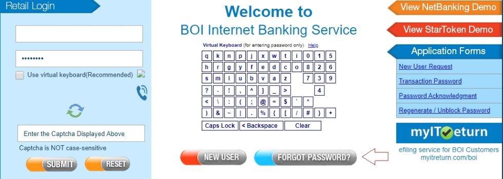 BOI net banking login password